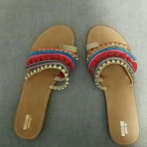 Multi color flat sandals